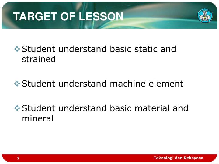 TARGET OF LESSON