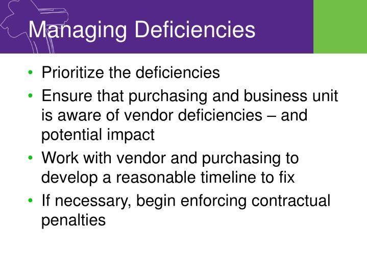 Managing Deficiencies
