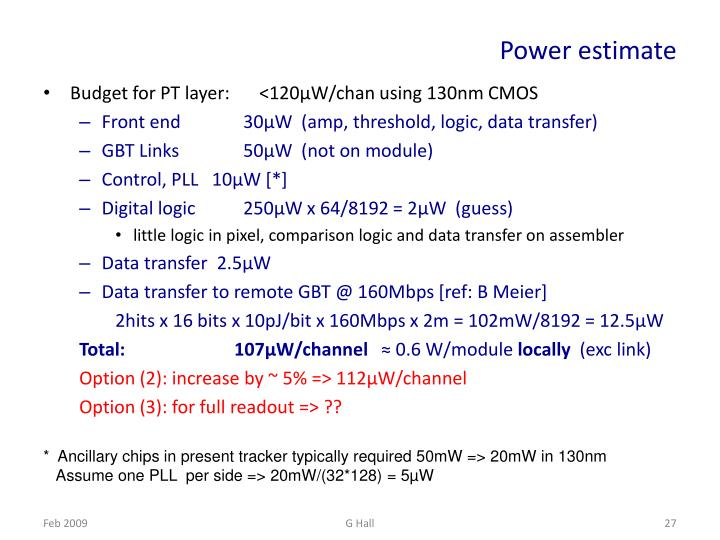 Power estimate