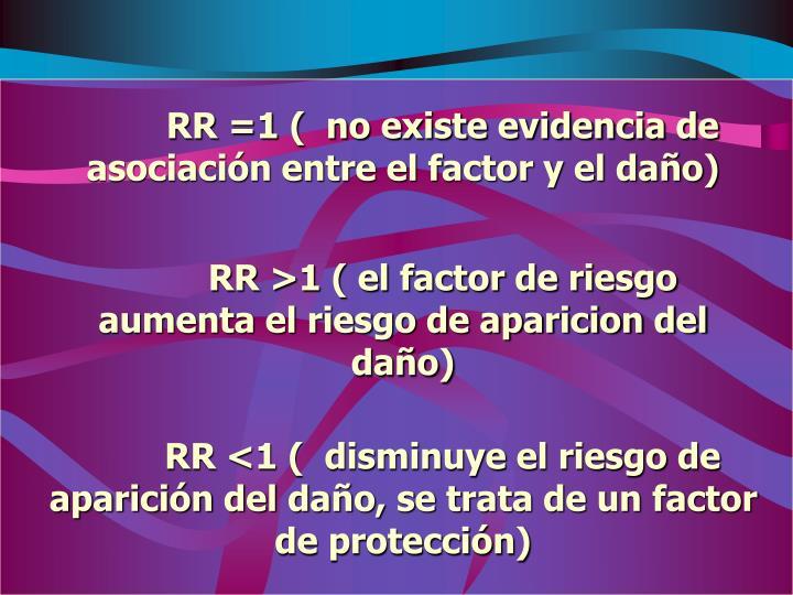 RR =1 (  no existe evidencia de asociación entre el factor y el daño)