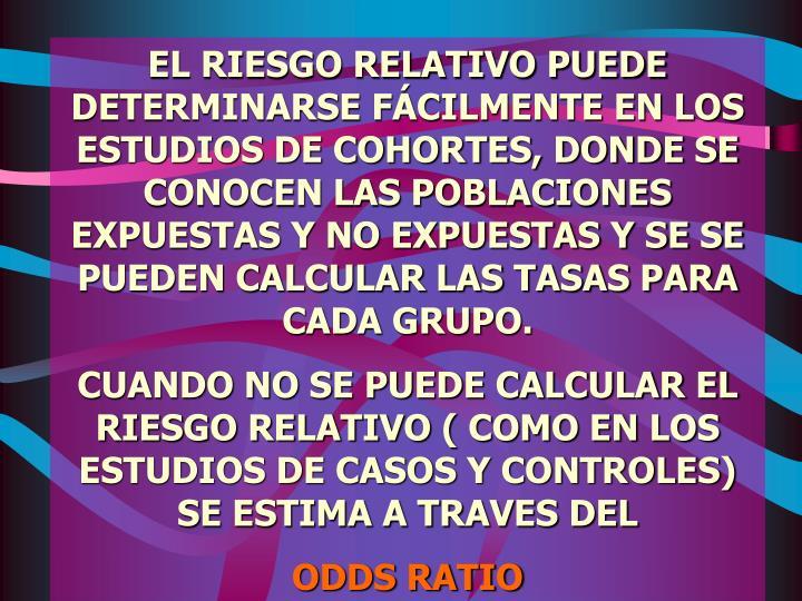 EL RIESGO RELATIVO PUEDE DETERMINARSE FÁCILMENTE EN LOS ESTUDIOS DE COHORTES, DONDE SE CONOCEN LAS POBLACIONES EXPUESTAS Y NO EXPUESTAS Y SE SE PUEDEN CALCULAR LAS TASAS PARA CADA GRUPO.