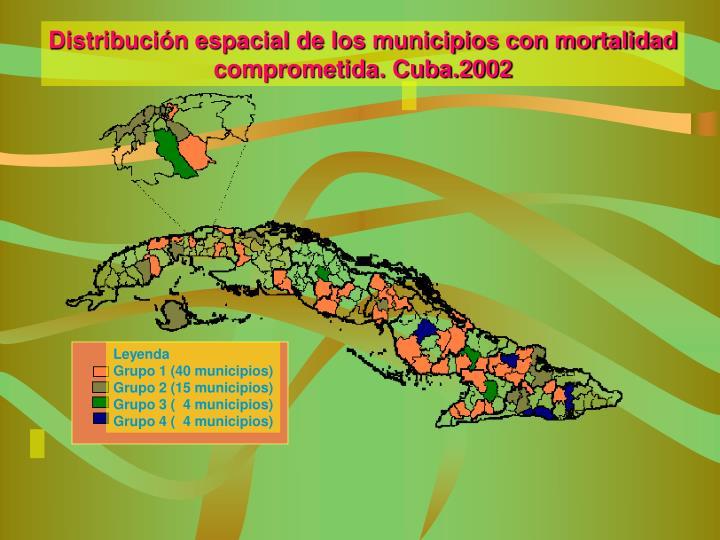 Distribución espacial de los municipios con mortalidad
