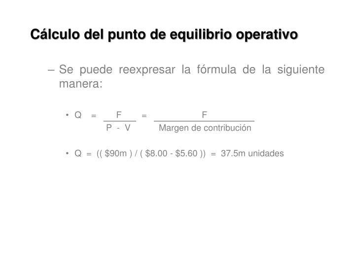 Cálculo del punto de equilibrio operativo