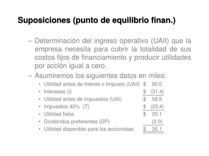 Suposiciones (punto de equilibrio finan.)