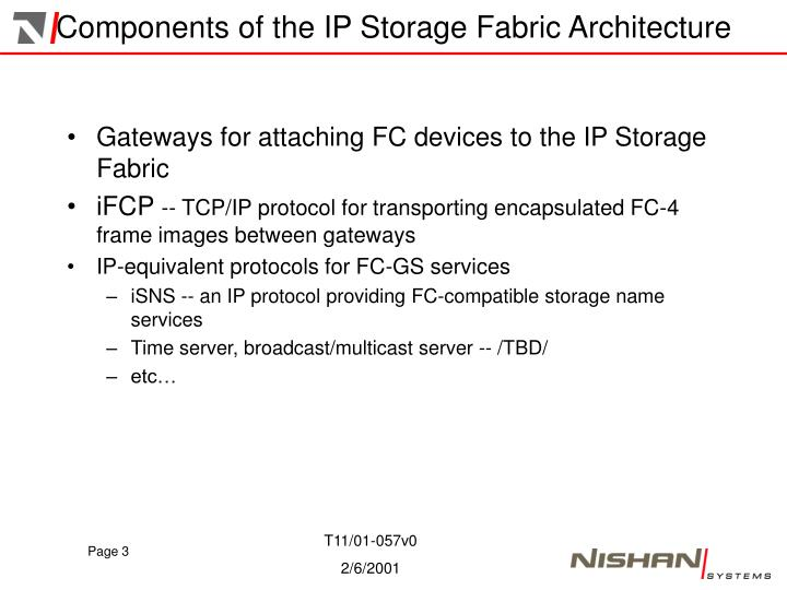Components of the ip storage fabric architecture
