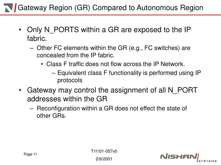Gateway Region (GR) Compared to Autonomous Region