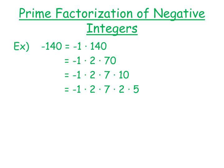 Prime Factorization of Negative Integers