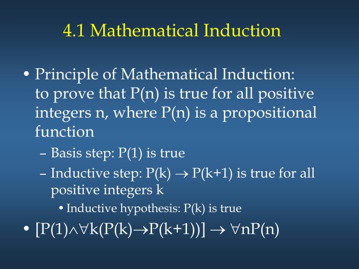 4.1 Mathematical Induction