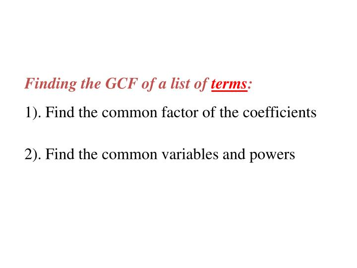 Finding the GCF of a list of