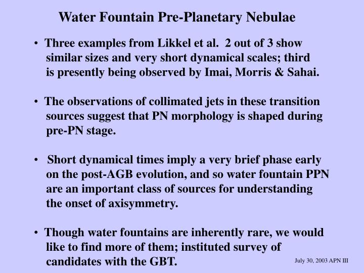 Water Fountain Pre-Planetary Nebulae
