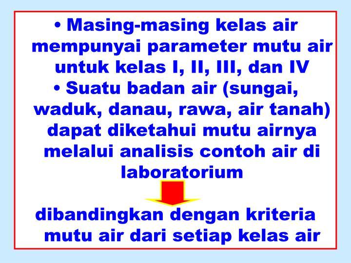Masing-masing kelas air mempunyai parameter mutu air untuk kelas I, II, III, dan IV