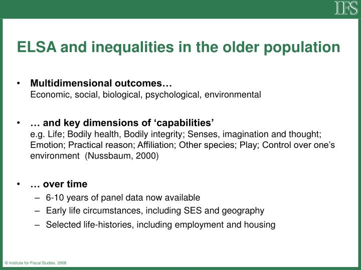 Elsa and inequalities in the older population