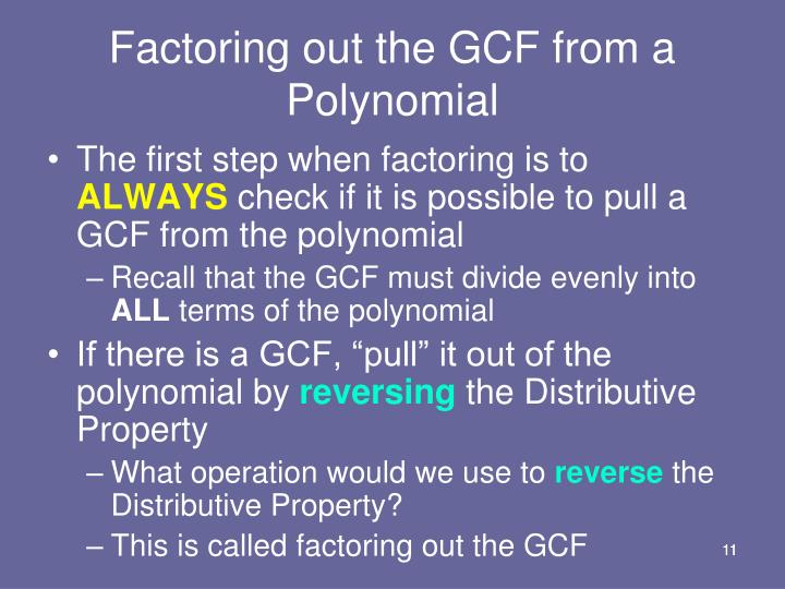 Factoring out the GCF from a Polynomial