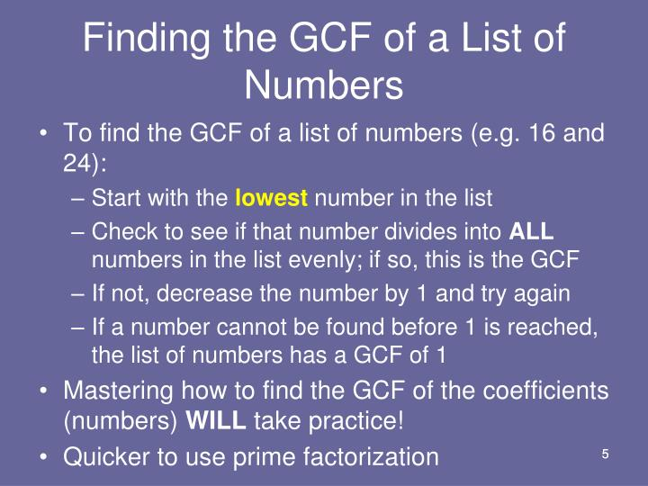 Finding the GCF of a List of Numbers