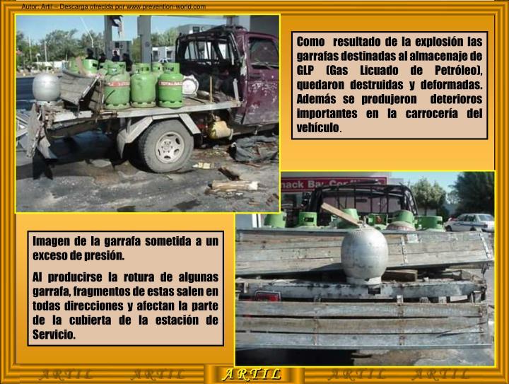 Como  resultado de la explosión las garrafas destinadas al almacenaje de GLP (Gas Licuado de Petróleo), quedaron destruidas y deformadas. Además se produjeron  deterioros importantes en la carrocería del vehículo