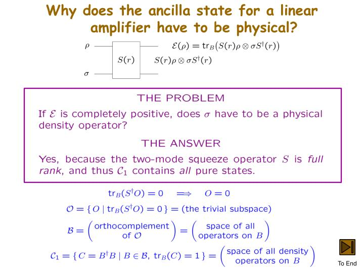 Why does the ancilla state for a linear amplifier have to be physical?