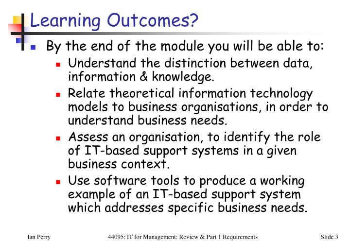 Learning Outcomes?