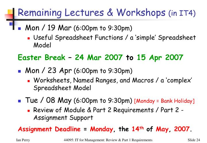 Remaining Lectures & Workshops