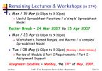 remaining lectures workshops in it4