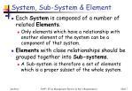 system sub system element
