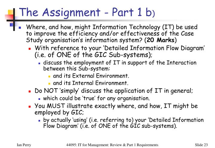 The Assignment - Part 1 b