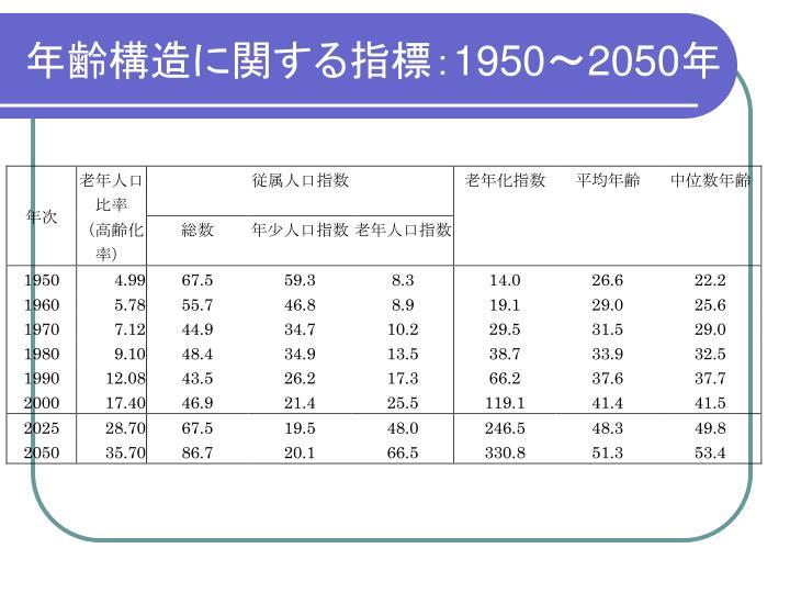 年齢構造に関する指標: