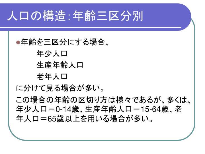 人口の構造:年齢三区分別