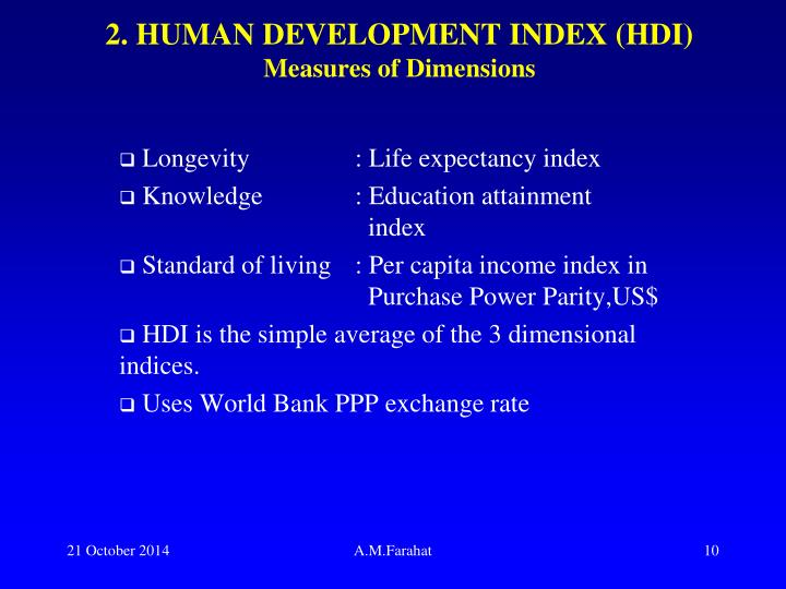 2. HUMAN DEVELOPMENT INDEX (HDI)