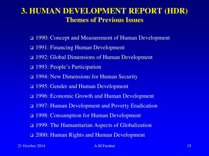 3. HUMAN DEVELOPMENT REPORT (HDR)