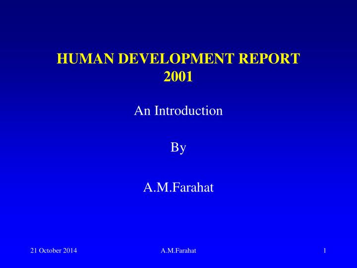 Human development report 2001