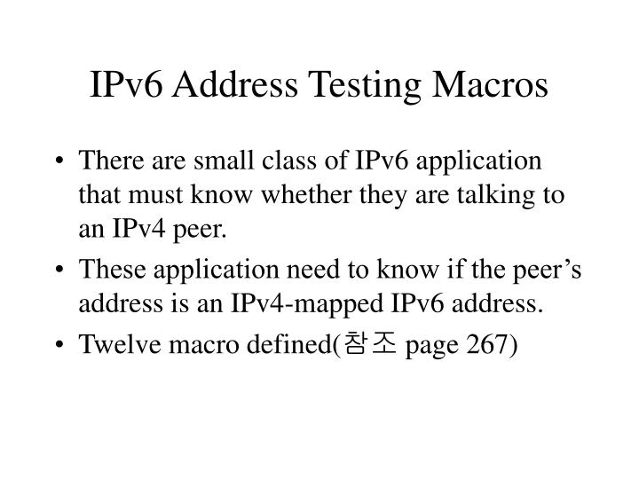 IPv6 Address Testing Macros