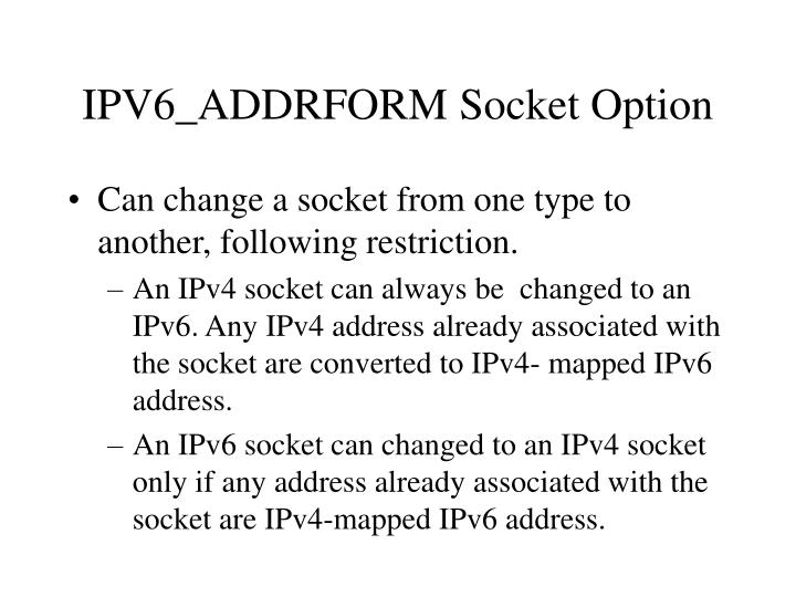 IPV6_ADDRFORM Socket Option
