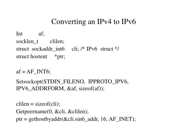 Converting an IPv4 to IPv6