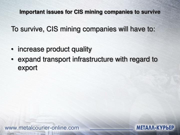 Important issues for CIS mining companies to survive