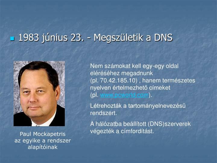 1983 június 23. - Megszületik a DNS
