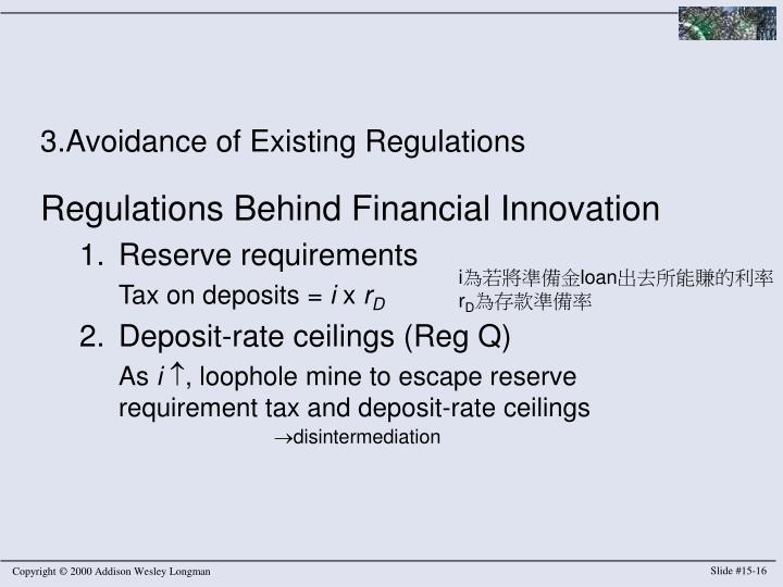3.Avoidance of Existing Regulations