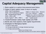 capital adequacy management