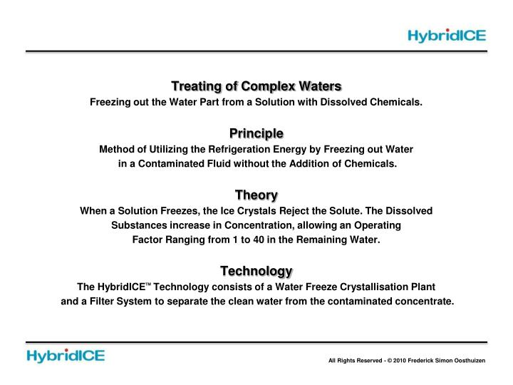 Treating of Complex Waters