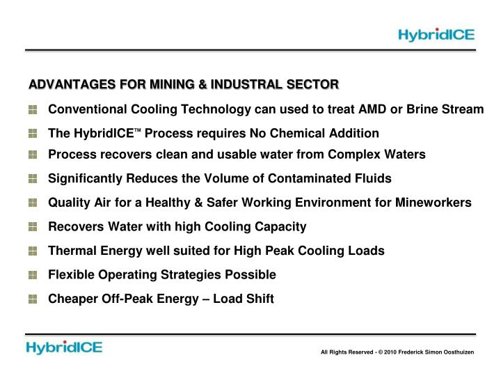 ADVANTAGES FOR MINING & INDUSTRAL SECTOR