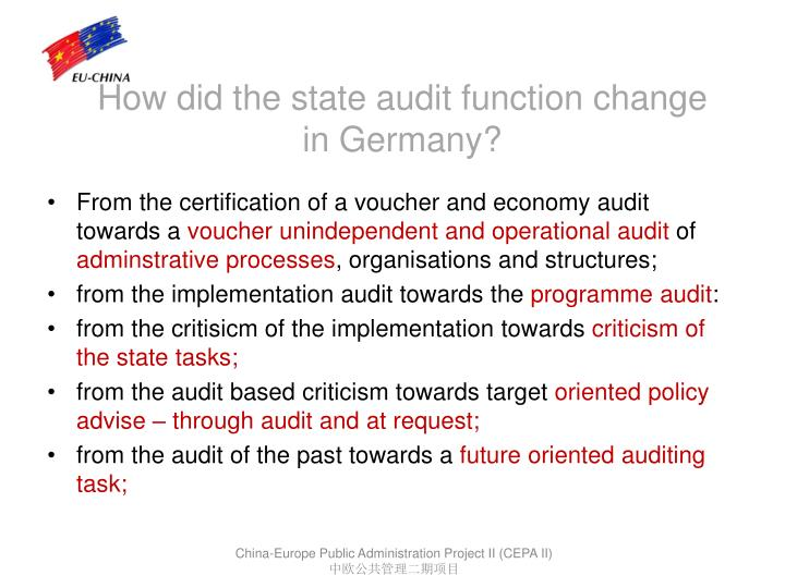 How did the state audit function change in