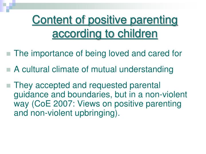Content of positive parenting according to children