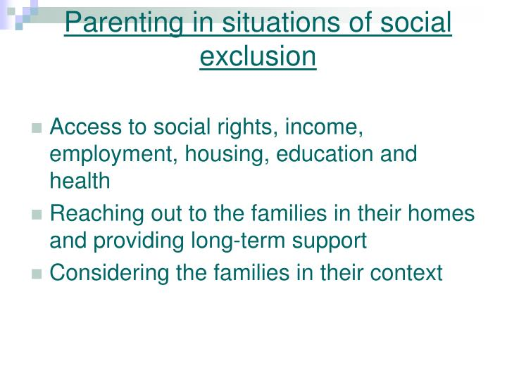 Parenting in situations of social exclusion