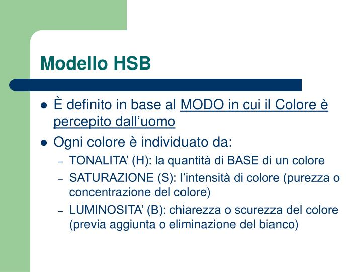 Modello HSB
