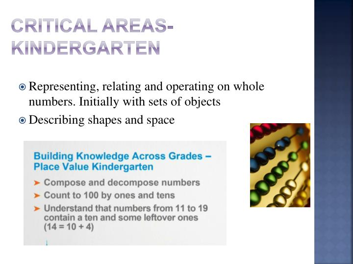 Critical Areas-Kindergarten