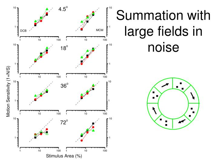 Summation with large fields in noise