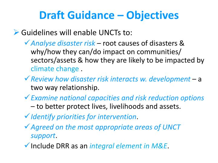 Draft Guidance – Objectives