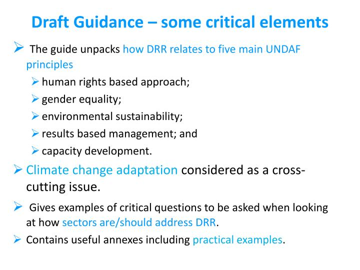 Draft Guidance – some critical elements