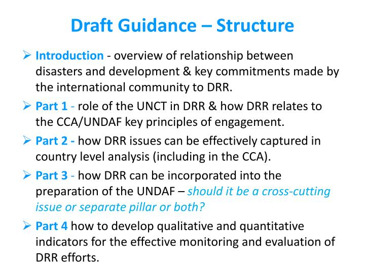 Draft Guidance – Structure