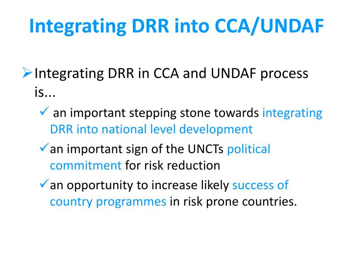 Integrating DRR into CCA/UNDAF