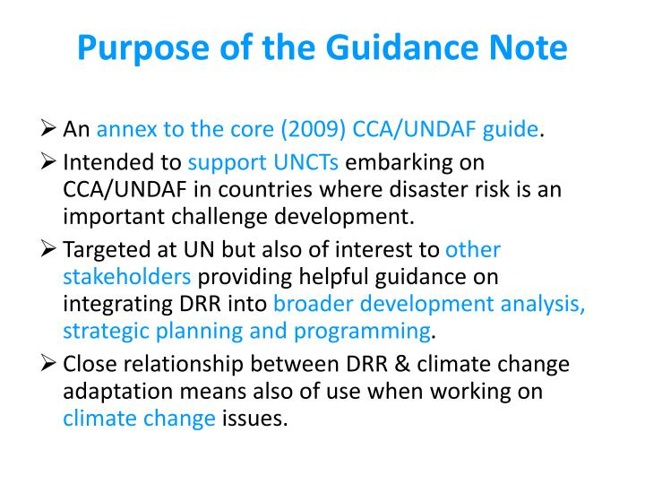 Purpose of the Guidance Note